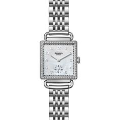 Shinola The Cass Diamond, Mother-Of-Pearl & Stainless Steel Bracelet... (16 200 SEK) ❤ liked on Polyvore featuring jewelry, watches, fine jewelry, chronos watch, white watches, chronograph wrist watch and diamond bezel watches