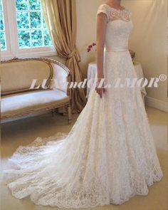 Wedding DressLace Wedding Dress Short Sleeve by LUXandGLAMOR, $640.00 just add sleeves!