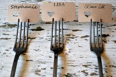 Also, we should definitely just use the forks as the place card holders! :)  Wedding Place Cards/name tags/favour tags by LaPommeEtLaPipe, $0.75