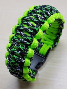 Neon green king cobra bracelet with buckle
