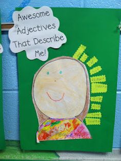 Awesome Adjectives that Describe Me (make new display above backpack hooks!) First Grade Reading, First Grade Classroom, Classroom Fun, Early Reading, Awesome Adjectives, Verb Activities For First Grade, Nouns First Grade, Open House Activities, Grade 1