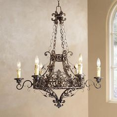 "Dark Bronze 28"" Wide 6-Light Iron Chandelier - #K8285 
