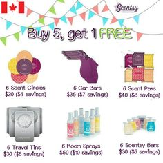 Buy 5, get 1 free CAD Prices http://jacquelynberg.scentsy.ca