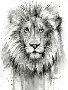 lion painting black and white - Google Search