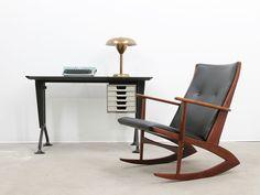 Studio mix style!Danish #design rocking chair + Italian brass table lamp+lettera32+Olivetti Arco series dattilo
