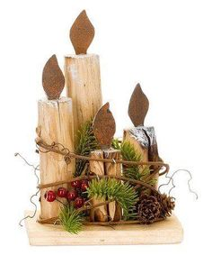 Nemusí to byť len klasický veniec z čečiny: 24 úchvatných dekorácií na adventný stôl, ktoré vám určite tak skoro nezvädnú! Christmas Wood Crafts, Primitive Christmas, Outdoor Christmas, Rustic Christmas, Christmas Projects, Holiday Crafts, Christmas Holidays, Christmas Ornaments, Wood Ornaments