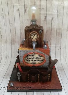 Vintage and steampunk cake for an electrician - Cake by Julieta ivanova