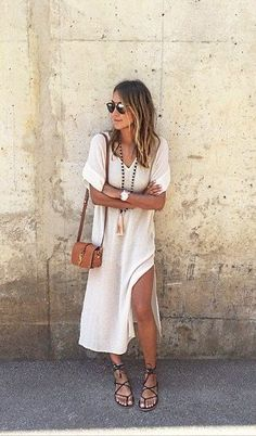Boho Street Style Inspiration: White Kaftan Dress + Gladiator Sandals Casual…