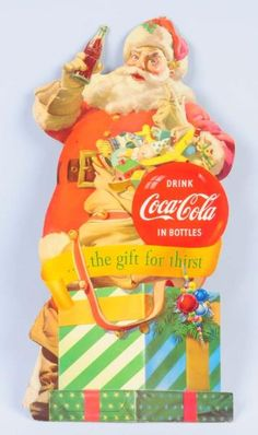 Lot # : 418 - 1953 Coca - Cola Santa Stand Up Sign.