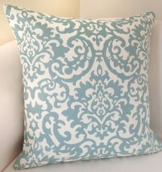 Damask Pillow Cover Decorative Throw Pillow 18x18 Inch Robins Egg Blue Cushion Accent $25