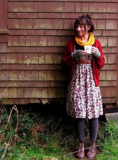 dress +cardigan + yellow cowl