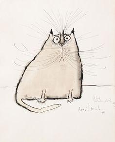 Ronald Searle (British, born 1920),   Study of a cat