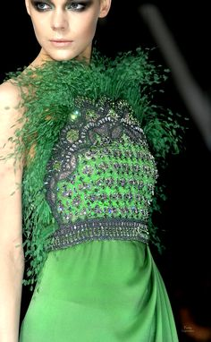 Haute Couture ~ Green Evening Gown with Beads, Sequins & Feathers ....