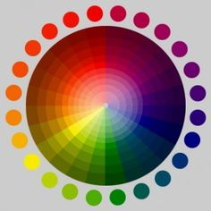 A colourwheel with bright and darker shades, primary and secundairy colours in the cirkles around the wheel, and everything in between.
