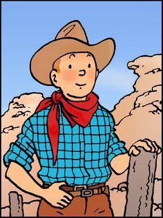 1957 • Souvenir d'Amérique // cowboy!Tintin ready to lasso some bad guys