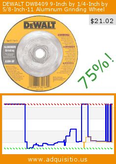 DEWALT DW8409 9-Inch by 1/4-Inch by 5/8-Inch-11 Aluminum Grinding Wheel (Tools & Home Improvement). Drop 75%! Current price $21.02, the previous price was $84.99. http://www.adquisitio.us/dewalt/dw8409-9-inch-14-inch-58