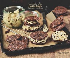 Chocolate Chip Cookie Dough Brownie Sandwich Cookies