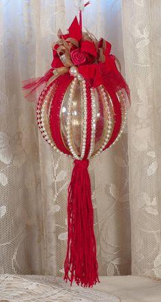 Gran victoriano rojo colgando adornos de Navidad - estilo Vintage - hecho a mano
