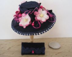 12th Scale Dollhouse Miniature Ladies Navy and Cerise Felt Hat and Handbag