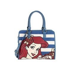 Disney The Little Mermaid Ariel Striped Bag Hot Topic ($80) ❤ liked on Polyvore featuring bags, handbags, stripe bag, white purse, disney, white handbag and striped bag