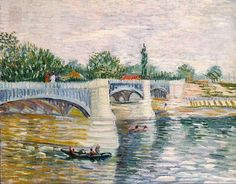 """The Seine with the Pont de la Grande Jatte 1887. Area on the Seine near Asnières. Van Gogh explored the use of """"dots"""" of paint set alongside contrasting colors, influenced by Georges Seurat, the beauty in simplicity and to convey messages in a more optimistic, light way than his work in the Netherlands. He was one of the artists later called """"Post-Impressionists"""". He wrote to his sister Wilhelmina """"While painting at Asnières, I saw more colors than I have ever seen before."""""""