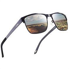 e380900605 Carfia Gafas de Sol Polarizadas de Estilo Aviador Retro Metal de UV400  Protección para Deporte y