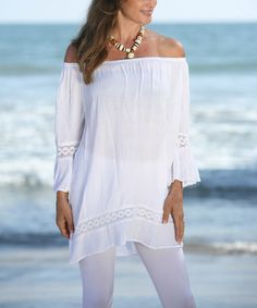Another great find on #zulily! White Lace-Accent Off-Shoulder Tunic - Plus #zulilyfinds
