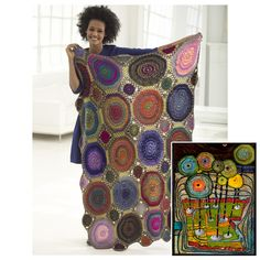 New @LionBrandYarn afghan pattern totally reminds me of a Hundertwasser painting: #knithacker #crochet #freepattern