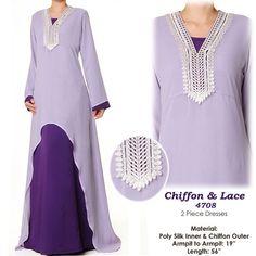 Purple Lavender Lace Chiffon Abaya Islamic Long by MissMode21, $34.00