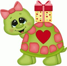 Silhouette Design Store: valentine turtle w present Cute Animal Clipart, Cute Clipart, Valentines Presents, Cute Turtles, Turtle Love, Paper Piecing Patterns, Tole Painting, Punch Art, Digital Stamps