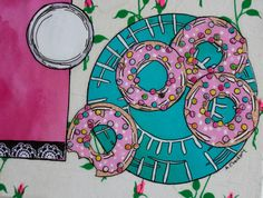 Donuts!-Original Paper Collage Painting by StoriesandTails on Etsy #collage #foodart #Etsy