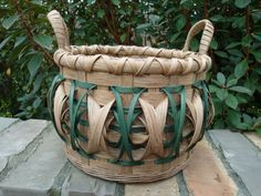 Green Dinner Roll Basket Handwoven Basket by kimstexascreations