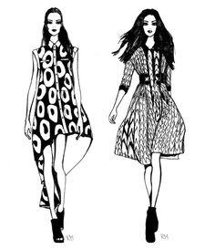 Fashion illustration - fashion design drawing of models in printed dresses; Fashion Illustration Face, Illustration Mode, Fashion Illustrations, Vogue Fashion, Fashion Art, Photoshop Face, Photoshop Actions, Fashion Words, Fashion Figures