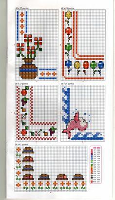 Alguns gráfico para dar aquele acabamento   especial nos seus trabalhinhos.   Obs.: Para você ver a imagem maior, basta clicar sobre ela.... Blackwork Cross Stitch, Cross Stitch Borders, Counted Cross Stitch Patterns, Cross Stitch Embroidery, Easy Arts And Crafts, Diy And Crafts, Simple Art, Pixel Art, Free Crochet