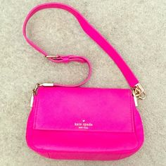 authentic Kate Spade pink leather purse Gorgeous, gently used Kate Spade purse. Live Colorfully lining, one interior pocket. Carried less than 3 times, no damage whatsoever! kate spade Bags Shoulder Bags