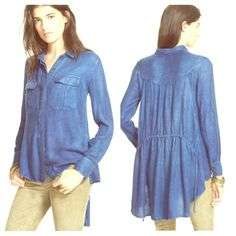 FREE PEOPLE Oversized Slouchy Cape Tunic NWT Amazing Boyfriend Tunic NWT and super sexy and simple! A wardrobe MUST HAVE! Retail $108. Color is Indigo.  Free People Tops Tunics