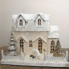 If I'm going to have a miniature Christmas house like a Grandma, it might as well be this one. If I'm going to have a miniature Christmas house like a Grandma, it might as well be this one. Miniature Christmas, Christmas Paper, Retro Christmas, Christmas Projects, White Christmas, Christmas Home, Christmas Glitter, Christmas Village Houses, Putz Houses