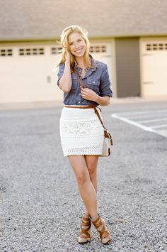 Great straight (can be lace) skirt with a nice belt but make sure it's not too short