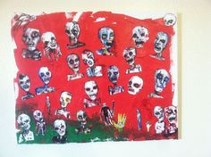 """ZOMBIE ART COLLAGE   16""""X20"""" ACRYLIC AND BRISTOL BOARD ON CANVAS.. jack larson #Abstract"""
