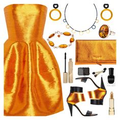 """Oscar De La Renta Copper Cocktail Dress"" by deborah-calton ❤ liked on Polyvore featuring Oscar de la Renta, Kim Kwang, Rochas, Be-Jewelled, Deborah Lippmann, Stila and NARS Cosmetics"
