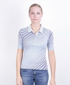 Lacoste Womens S/M Polo Shirt Blue Striped Cotton Summer