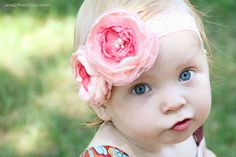 Items similar to Stunning Vintage Inspired Headband OR Sash-Peachy Pink, Coral Flower Clip-All ages Headband Photo Prop on Etsy Shabby Chic Headbands, Baby Flower Headbands, Lace Headbands, Newborn Headbands, Baby Bows, Headband Baby, Flowers For You, Bridal Flowers, Fabric Flowers