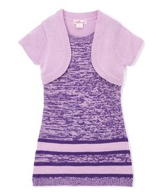Look at this Pink Angel Purple Twist Stripe Layered Dress - Infant, Toddler & Girls on #zulily today!