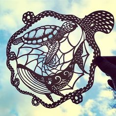 We're all in this together, every action has a reaction. Let's look after our planet, it's the only home we have Hand cut paperart, designed and cut by me. Cut Out Art, Octopus Tattoos, Scroll Saw Patterns, Tattoo Blog, Crafts To Do, Paper Crafts, Picture On Wood, Beach Art, Art Day