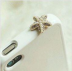 Sparkle Crystal Pearl Starfish iPhone Dustproof Plug