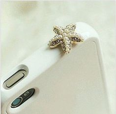 Sparkle Crystal Pearl Starfish iPhone Dustproof Plug