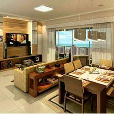 Sala de estar e de jantar Eclectic Living Room, Cozy Living Rooms, Tv Wall Design, Home Interior Design, Interior Ideas, Family Room, Sweet Home, Lounge, Kitchen