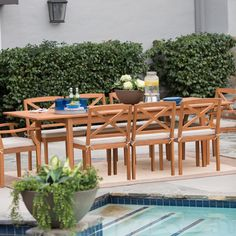 Have to have it. Belham Living Brighton Outdoor Wood Extension Patio Dining Set - $1299.98 @hayneedle