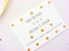 Wedding save the date cards gold polka dots hand by SepiaSmiles
