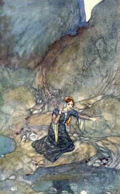 Miranda.- No woman's face remember save mine own. Shakespeare's Comedy of 'The Tempest' (Act III, scene I) illustrated by Edmund Dulac (1908)